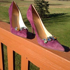 Kate Spade Gem Embellished Suede Heels